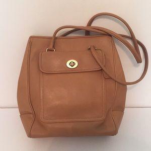 Coach tan saddle leather satchel purse
